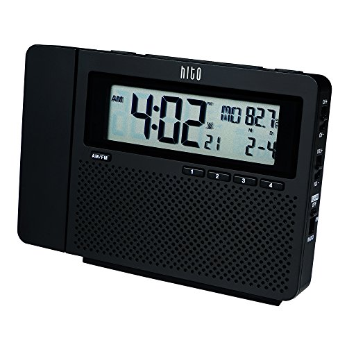 hito atomic am fm projection clock radio w date week and temperature battery operated adapter. Black Bedroom Furniture Sets. Home Design Ideas