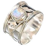 Rainbow Moonstone, Pierre de Lune Arc-En-Ciel Argent Sterling 925 Bague 8.5