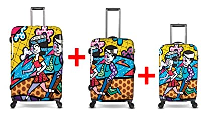 Heys USA - 3pcs. - SET 100 GBP Discount - Britto Spring love, High-quality designer artist luggage set - 55 cm hand luggage, 66 cm and 76 cm 4-wheels Trolley by Heys USA