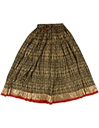 Jaju Women's Cotton Ethnic Skirt (Beige, X-Large)