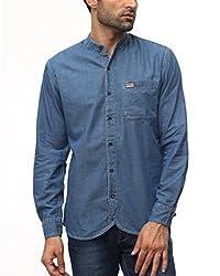 Wrangler Men Cotton INDIGO-BLUE Casual Shirt (X-Large)