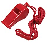 Red Plastic Sports Whistle with Safety Breaker Cord