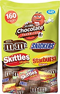 Mars Chocolate and Sugar Halloween Candy Variety Mix (M&M's, Skittles, Snickers, and Starburst), 160 Pieces