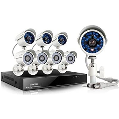 Zmodo 8CH D1 DVR CCTV Security Camera System w/ 8 700TVL Hi-Resolution Night Vision Outdoor Surveillance Cameras Built-in IR-Cut NO Hard Drive