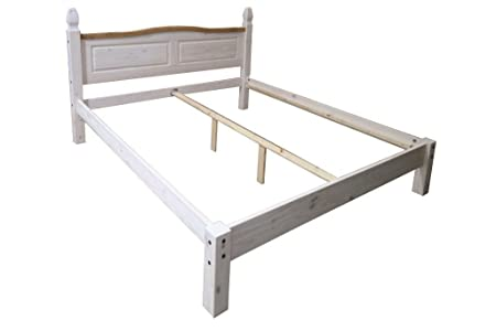 Bett Doppelbett Einzelbett Gästebett Mexico Pinie massiv weiss 140x200 Holzbett