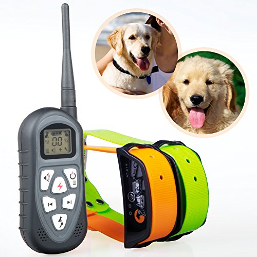 Aetertek At-219 Dog Shock Collar For 2 Dog 100% Waterproof Dog Trainer For Swimming Dog Bark Collar With Lcd Display Rechargeable Pet Dog Training Shock Collar, Adjustable Shock Collar