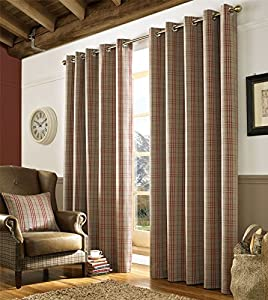 "Tartan Check Red Brown Beige Woven Lined 66"" X 90"" - 168cm X 229cm Ring Top Curtains from Curtains"