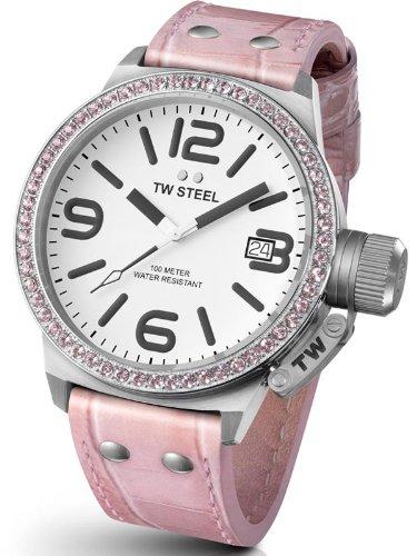 TW Steel Canteen Style TW-36 - Reloj analógico de cuarzo para mujer, correa de cuero color rosa