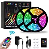 LED Strip Lights, L8star 32.8Ft/10M Color Changing Rope Lights SMD 5050 Flexible RGB Light Strips with Bluetooth Controller Sync to Music Apply for TV Bar Counter Cabinet Party Christmas Decoration (Color: Rgb+white, Tamaño: 32.8FT)