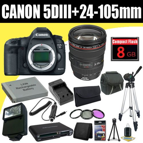 Canon EOS 5D Mark III 22.3 MP Full Frame CMOS with 1080p Full-HD Video Mode Digital SLR Camera w/ EF 24-105mm f/4 L IS USM Lens + LP-E6 Replacement Lithium Ion Battery + External Rapid Charger + 8GB Compact Flash Memory Card + 72mm 3 Piece Filter Kit + Carrying Case + Full Size Tripod + External Flash + SDHC Card USB Reader + Memory Card Wallet + Deluxe Starter Kit Deluxe Accessory Kit