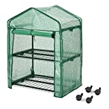 Finether 2-Tier Greenhouse with Clear Cover and Casters |Portable Garden House/Gargen House for Indoor Outdoor Herb Flower Garden Balcony,27