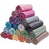 Set of 3 XL Turkish Cotton Bath Beach Spa Hammam Yoga Gym Yacht Hamam Towel Wrap Pareo Fouta Throw Peshtemal Pestemal Sheet Blanket, Black,Grey,Navy,Blue,Turquoise,Red,Yellow,Purple,Pink,Orange,Green