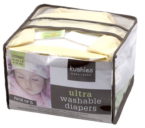 Kushies 5 Pack Reusable Ultra Diapers for Infants
