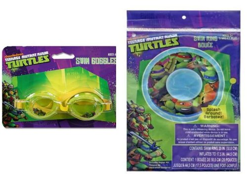 TMNT Ninja Turtle Swim Ring + Goggles - 1