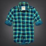 Hollister Co. ホリスター メンズ フランネルシャツ 長袖シャツ ネルシャツ [ネイビーxブルー/裏地付] 並行輸入品 XLサイズ