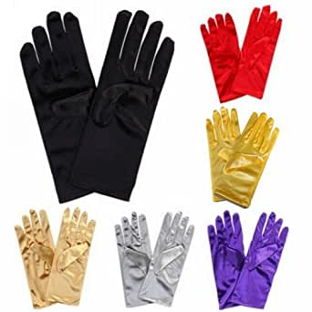 Satin Gloves Wrist Length For Ladies