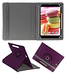 Acm Rotating 360° Leather Flip Case For Lava Ivory M4 Cover Stand Purple