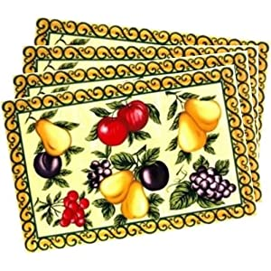 Easy to Clean Anti-skid Vinyl Plastic Placemats with Colorful Fruit Set of 4