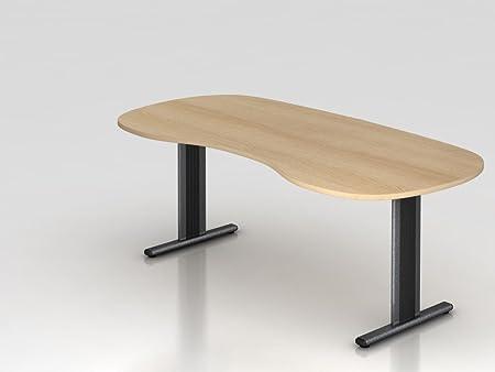 renale da tavolo piede a T, 200x 100cm, rovere/argento