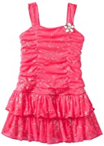 Amy Byer Girls 2-6X Glitter Two Tier Toddler, Pink, 4T