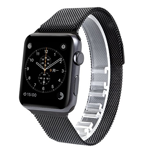Evershop®Apple Watch Band with Unique Magnet Lock 42mm Milanese Loop Stainless Steel Bracelet Strap Band for Apple Watch 42mm All Models No Buckle Needed(Milanese-42mm Black)