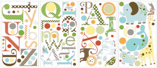 RoomMates RMK1440SCS Animal Alphabet Peel & Stick Wall Decals