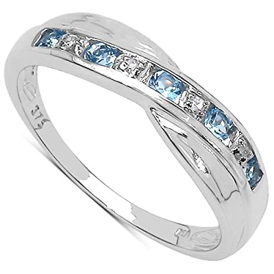 The Diamond Ring Collection: 9ct White Gold Blue Topaz & Diamond Channel Set Crossover Eternity Ring