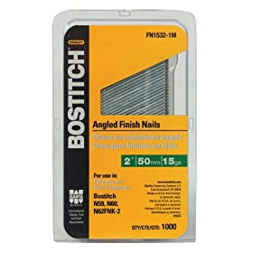 Bostitch FN1532-1M 2-Inch 15-Gauge FN Style Angled Finish Nails, 1000 per Box