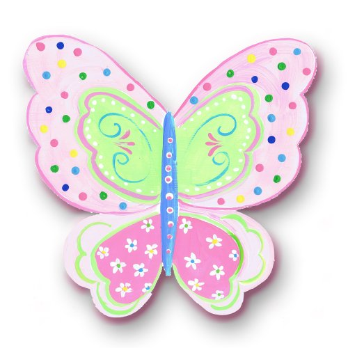 The Kids Room Whimsical Die Cut Wall Plaque, Green with Multi Dots and Daisies Butterfly - 1