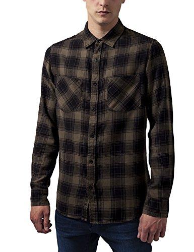 Urban Classics Checked Flanell Shirt 3, Camicia Uomo, Mehrfarbig (Blk/Olive 757), Medium