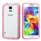 Phonetatoos (TM) for Galaxy S5 Pink/Transparent Clear MyBumper Phone Protector Cover - Lifetime Warranty