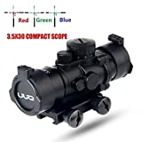 UUQ Prism 3.5X30 Red/Green/Blue Triple Illuminated Rapid Range Reticle Rifle Scope With Built In Mount (12 Month Warranty)