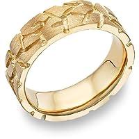 Nugget Design Wedding Band, 14K Yellow Gold