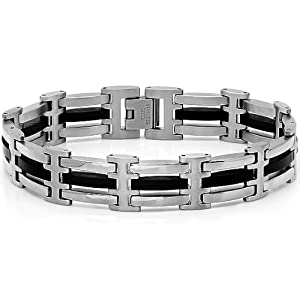 Mens Stainless Steel and Black Rubber Link Bracelet 8 1/2 inches