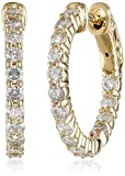 14kt Yellow Gold Diamond Inside and Outside Shared-Prong Hoops, 1.5 Cttw (H-I Color, I1 Clarity)