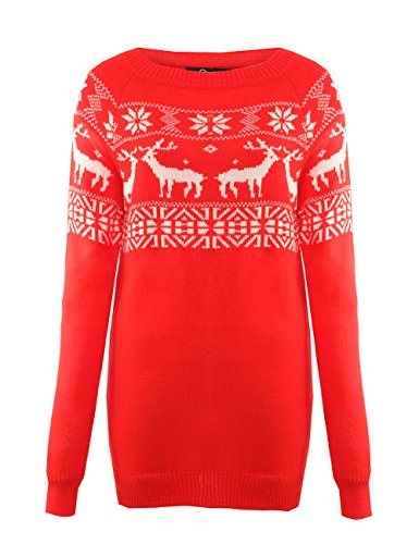 Women's Oversized Christmas Deer and Snowflake Sweater