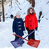 MnM-Home Extra Strong One Piece Construction, Kids/Toddler Plastic Snow Shovel. Two Set, Red-(girl) Blue-(boy).