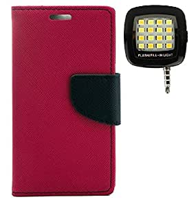 YGS Premium Diary Wallet Case Cover ForSamsung Galaxy Note2 n7100-Pink With Photo Enhancing Flash Light