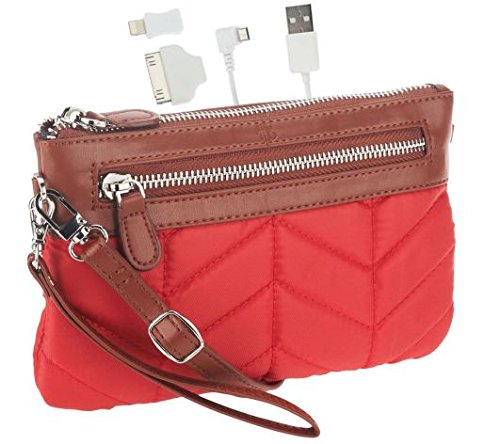 Handbag-Butler-Quilted-Nylon-2-in-1-Bag-with-3000-mAh-Cell-Phone-Charger-Red