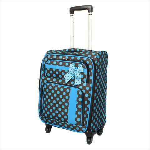 """All-Season Polka Dot Delight 19"""" Expandable Lightweight Spinner Upright Carry-On - Brown & Turquoise"""