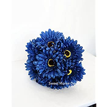 Sweet Home Deco 13 Silk Artificial Gerbera Daisy Flower Bunch (W/ 7stems, 7 Flower Heads) Home/Wedding (Royal Blue)
