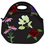 Snoogg Vector Flowers Travel Outdoor Carry Lunch Bag Picnic Tote Box Container Zip Out Removable Carry Lunchbox Handle Tote Lunch Bag Food Bag For School Work Office