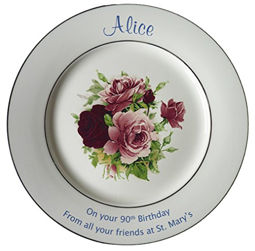 Personalized Bone China Commemorative Plate For A 90th Birthday - Summertime Design With 2 Gold Bands