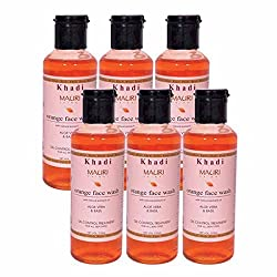Khadi Mauri Orange Face Wash Pack of 6 Herbal Natural Ayurvedic 210 ml each