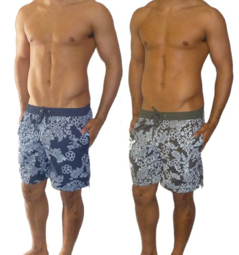 Mens Khaki Floral Lined Swimming Shorts Small
