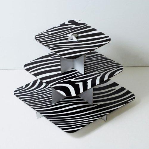 "ifavor123 10"" 3 Tier Cupcake Holder Stand- Cardboard Black, Pink, Plain, Blue Zebra Print Party Decorations (Black Square)"
