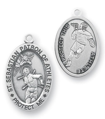 Oval Boy's St. Sebastian Lacrosse Medal With