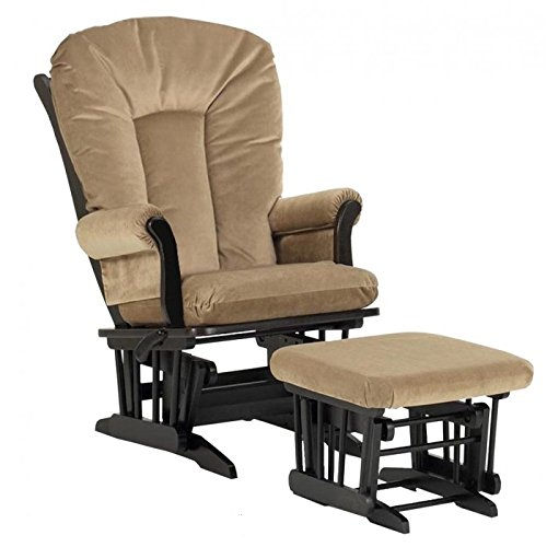 Dutailier Ultramotion Sleigh Design Wood Glider and Ottoman Combo Set Espresso (Tan Fabric) - 1