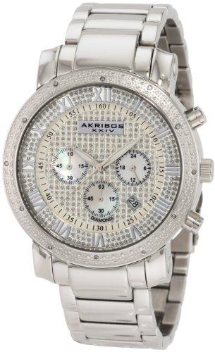 Akribos XXIV Men's AK439SS Dazzling Diamond Chronograph Watch