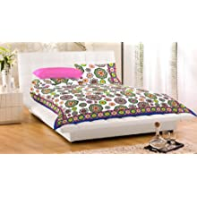 """Bed Cover With Pillow Cover Double Bed Spread Double 100% Cotton 90X108"""" Floral"""